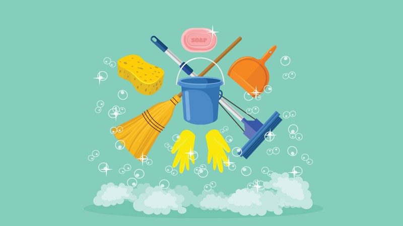 eco-friendly cleaning tools inlcuding sponge and broom