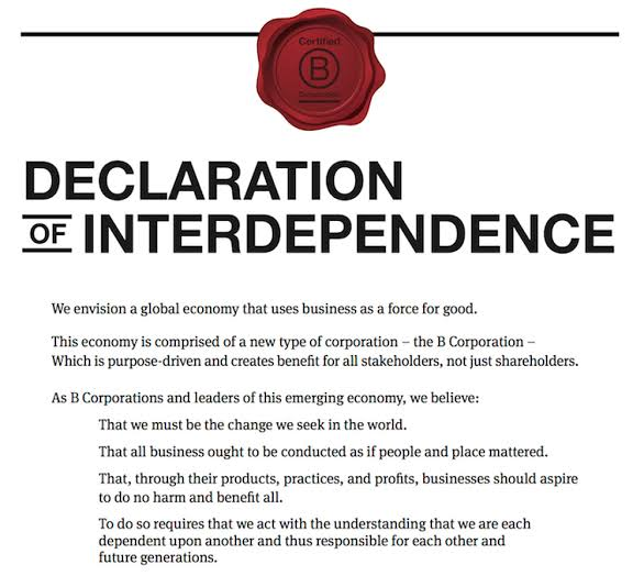 b corp declaration of interdependence